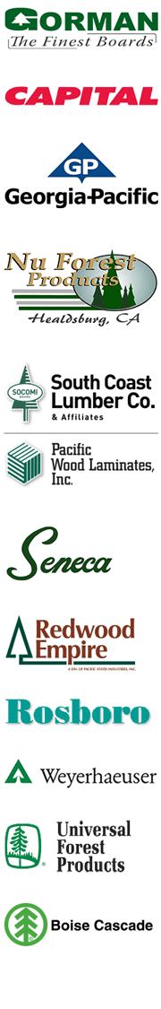 The logos for Gorman, Capital, Georgia-Pacific, Nu Forest, South Coast Lumber, Pacific Wood, Seneca, Rosboro, Redwood Empire, Weyerhaeuser and Universal Forest Products