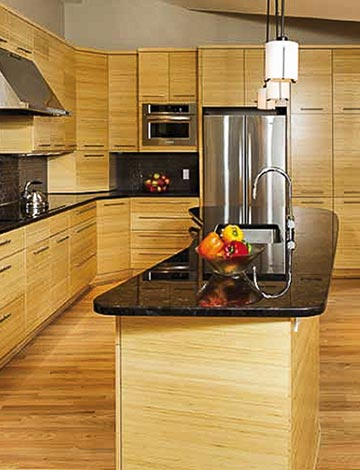 Modern Kitchen Featuring Crystal Cabinet Works Manhattan Style Cabinets In Bamboo