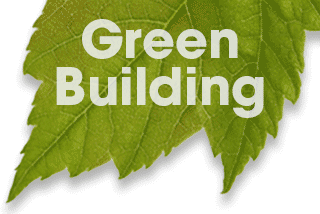 Green leaf with the words Green Building