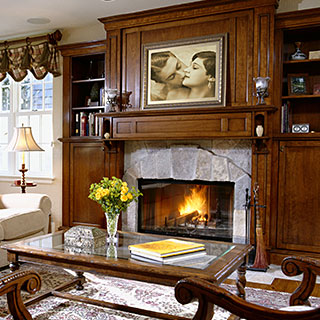 Wood moulding accents this family room.