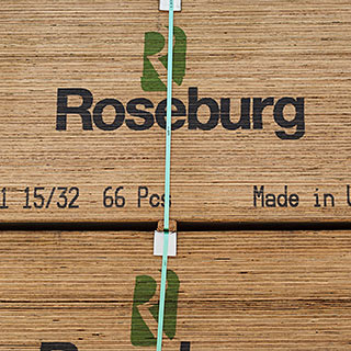 Roseburg CD Str 1 15/32 Made in USA plywood stacked in yard