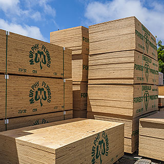 Plywood stacked in yard