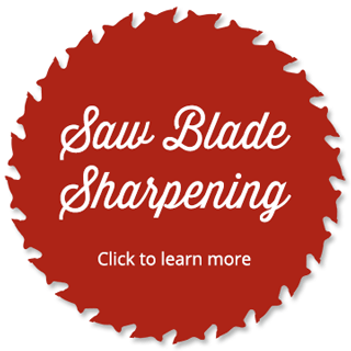 Red circular saw blade with the words Saw Blade Sharpening, click here to learn more