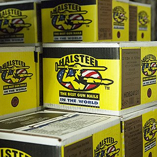 Boxes of Halsteel - The best gun nails in the world