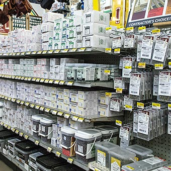 Construction fasteners by the box or bucket, deck screws and nails, we have an aisle full