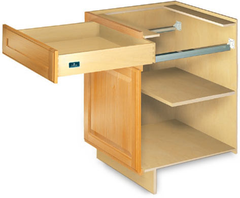 Cutaway image showing Crystals' box framed construction, door and drawer.