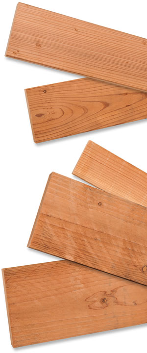 Selection of select heart  Redwood, construction heart Redwood and rough-sawn Redwood in various sizes