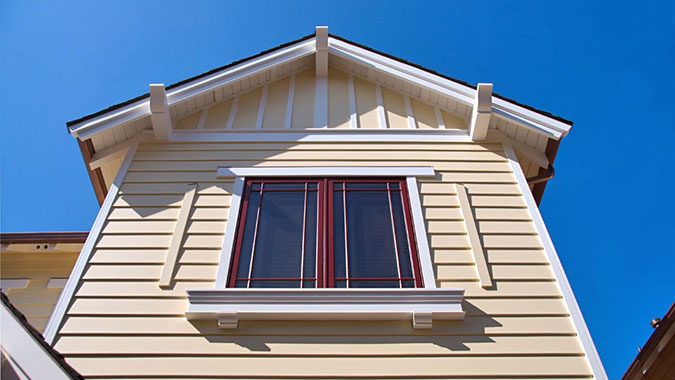 Craftsman architectural style is replicated in this window detail using Bodyguard exterior moulding and trim