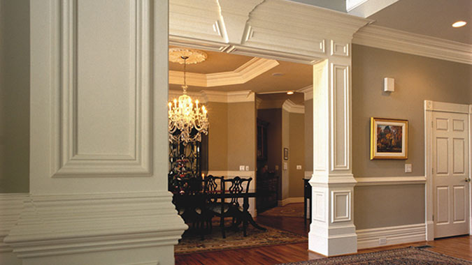 Hallway and dinning room using Kelleher moulding for walls, ceiling and floors