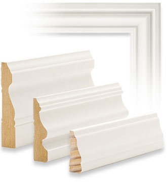 Samples of window and door casing moulding in three profiles and sizes