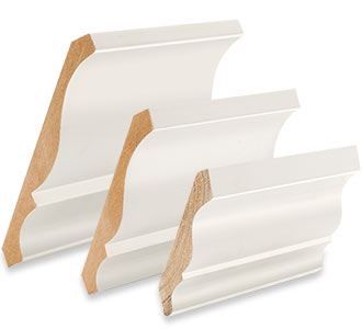Samples of crown ceiling moulding in three sizes