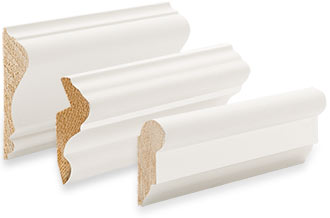 Samples of wall and decorative moulding, including chair rail, panel moulding and picture frame