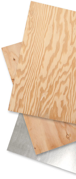 Selection of plywood grades and types including ACX, CDX and CDX Radiant Barrier