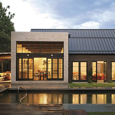 This modern style home features Marvin Windows and Doors
