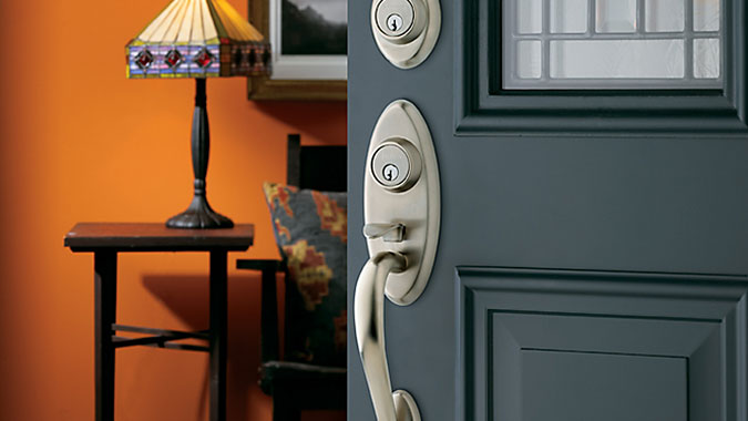 Landon two-point entry lock handle set in satin nickel finish is part of the Baldwin Hardware Estate Portfolio