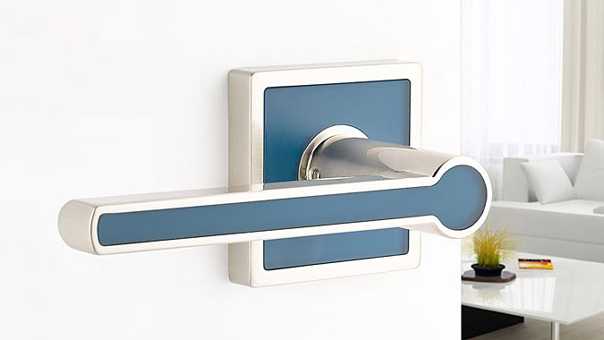 This lever handle is part of the Contemporary Color Collection from Emtek that can be personalize with a variety of color inserts