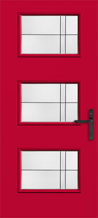 Therma Tru's Pulse door style with modern, clean lines and decorative glass makes a statement in pomegranate red