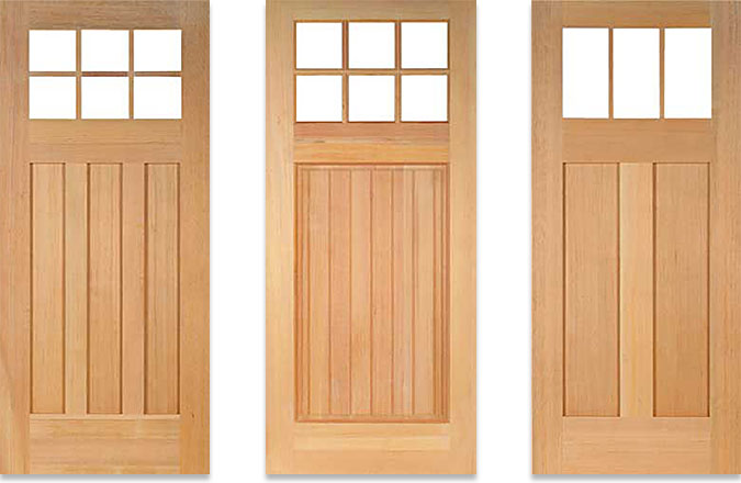 Three wood doors - Wright, Ellis and Stickley are part of the California Craftsman Collection from T. M. Cobb