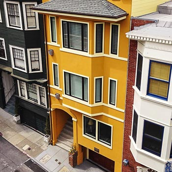 Remodeled San Francisco row house with new windows and doors from South City Lumber & Supply