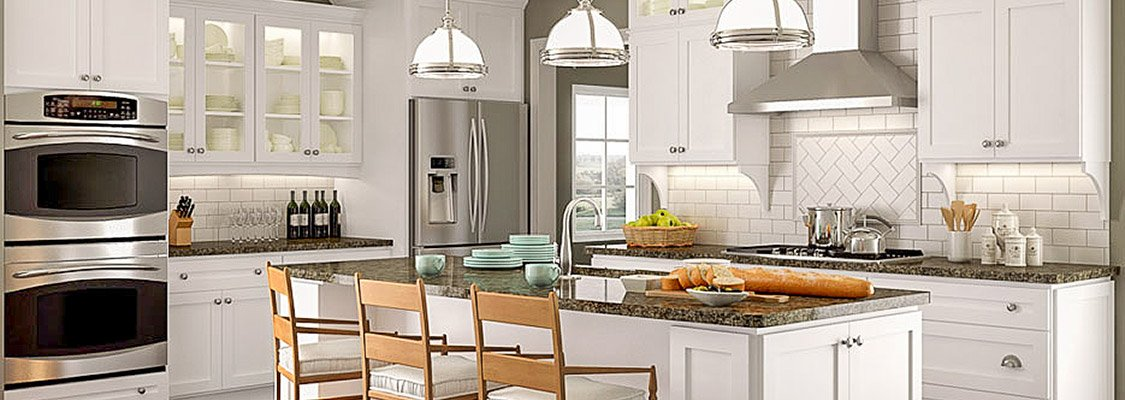 Crystal Cabinet Works simply white custom kitchen cabinets