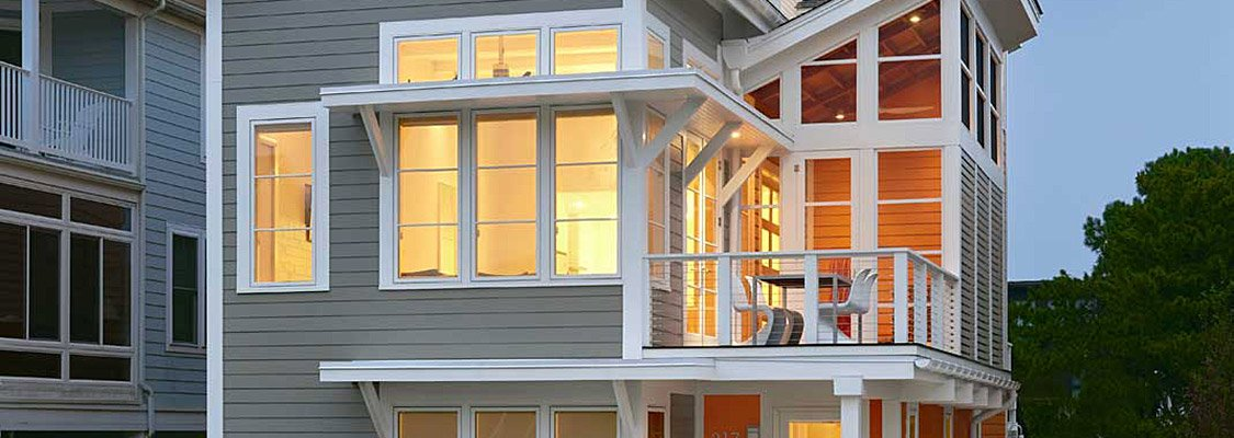 Multi-story coastal contemporary home featuring Integrity windows and doors.