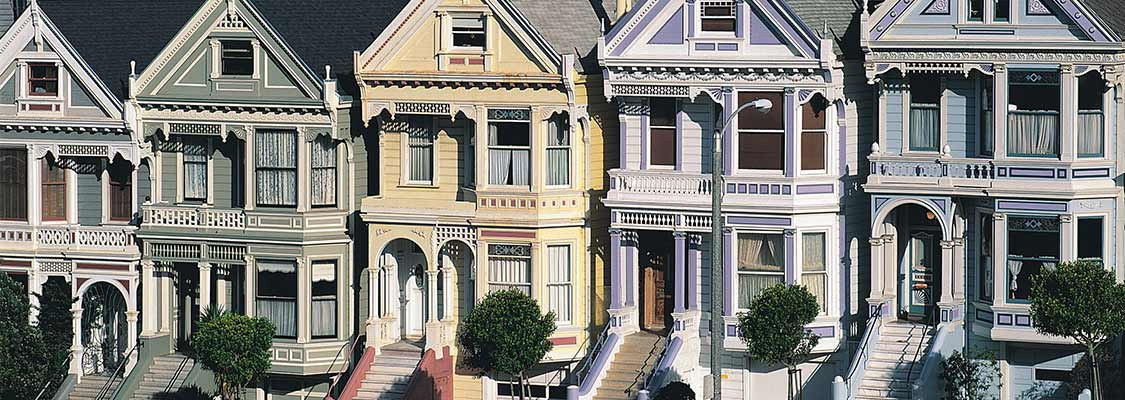 Restored Victorians along Alamo Square in San Francisco