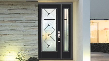Clean lines, a sleek finish and decorative glass set the tone for the modern look found in this front entry door from Masonite Doors